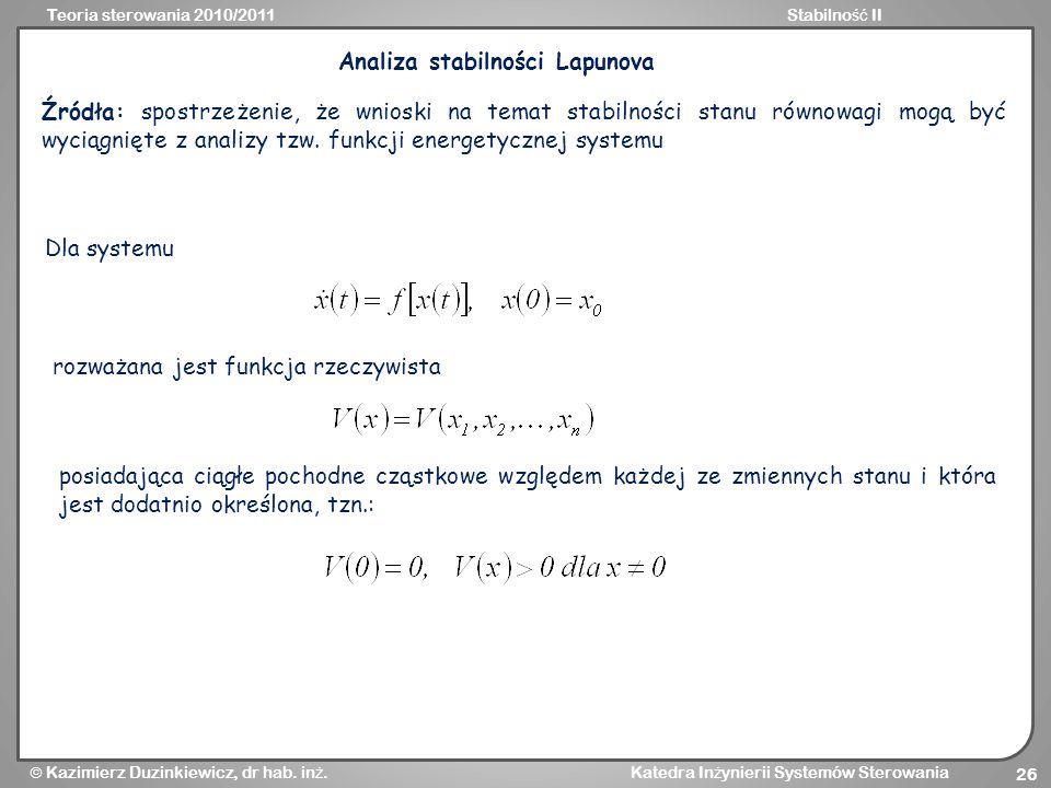 Analiza stabilności Lapunova
