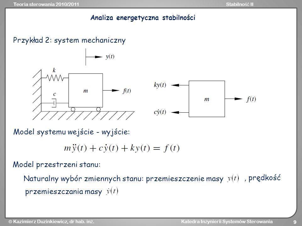 Analiza energetyczna stabilności