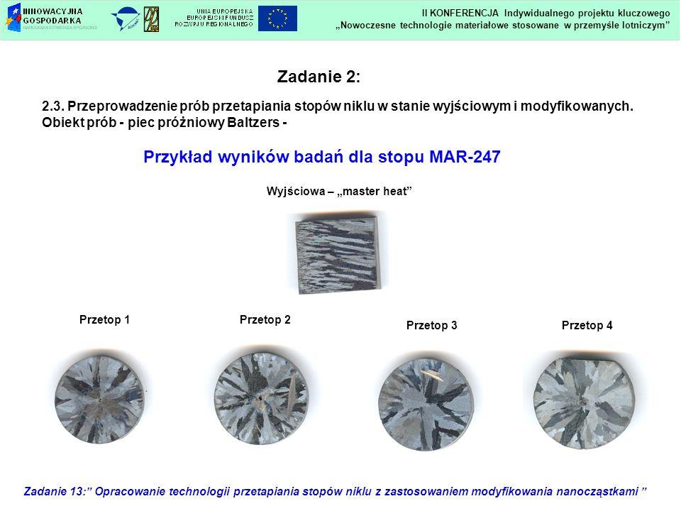 Przykład wyników badań dla stopu MAR-247
