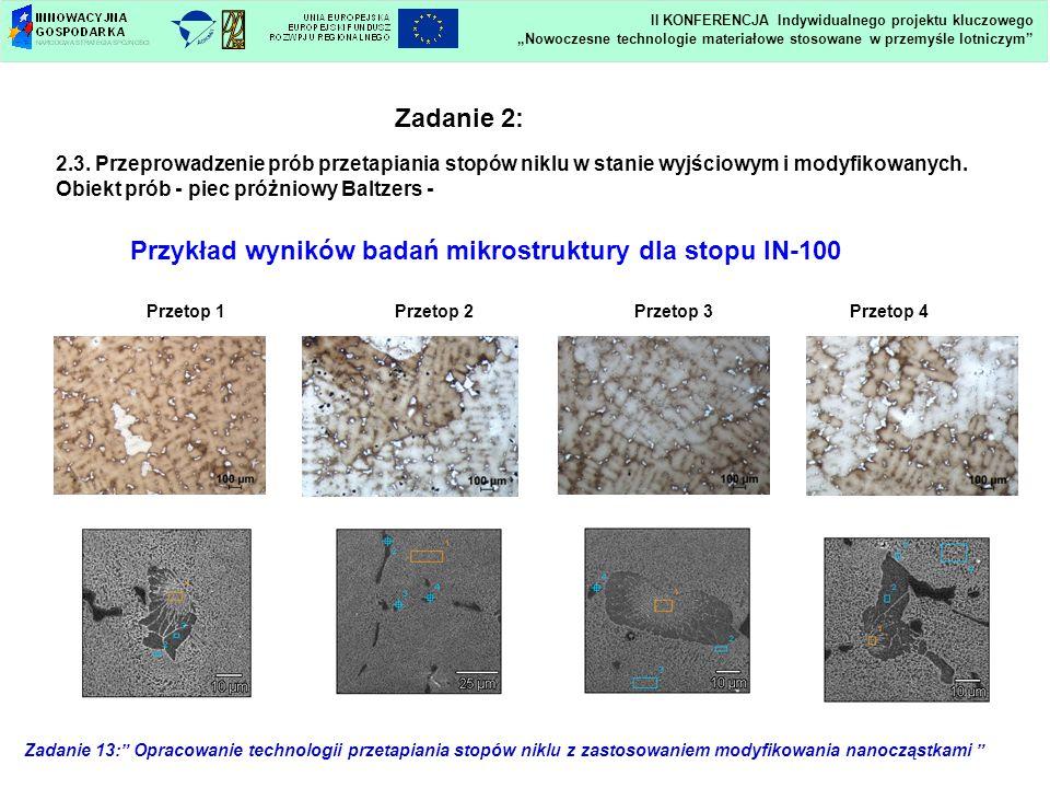 Przykład wyników badań mikrostruktury dla stopu IN-100