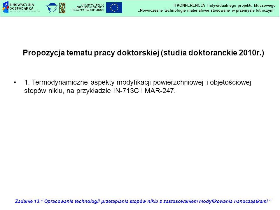 Propozycja tematu pracy doktorskiej (studia doktoranckie 2010r.)