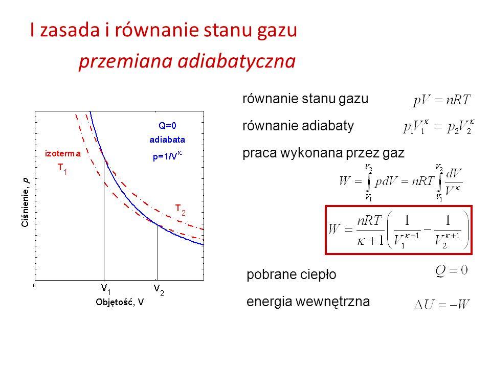 I zasada i równanie stanu gazu przemiana adiabatyczna