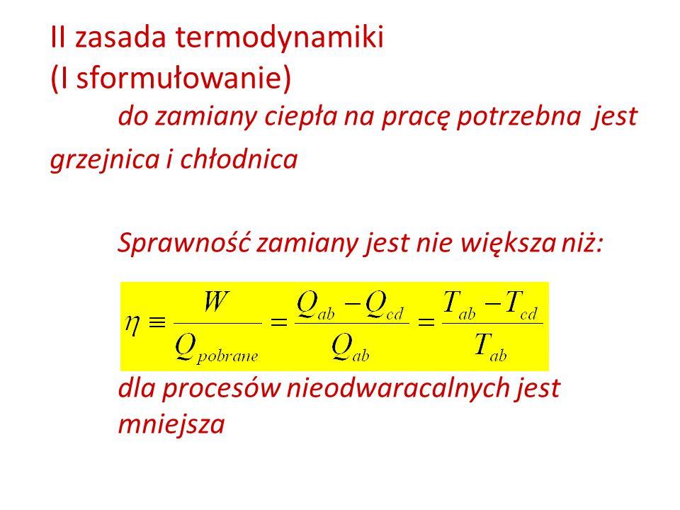 II zasada termodynamiki (I sformułowanie)