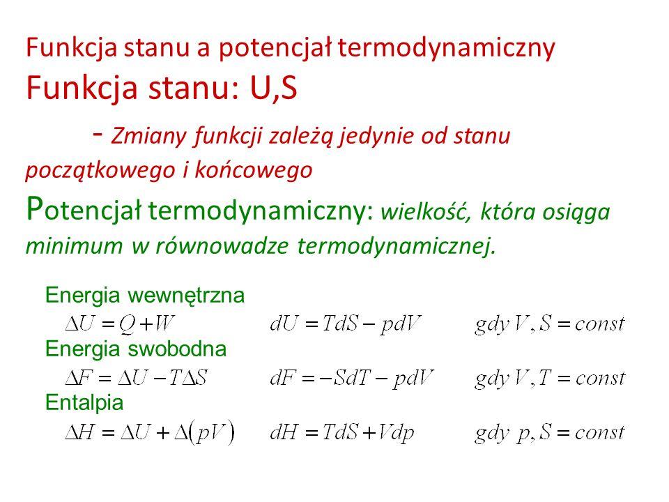 Funkcja stanu a potencjał termodynamiczny Funkcja stanu: U,S
