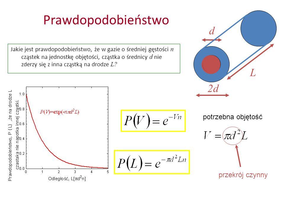Prawdopodobieństwo d L 2d potrzebna objętość przekrój czynny