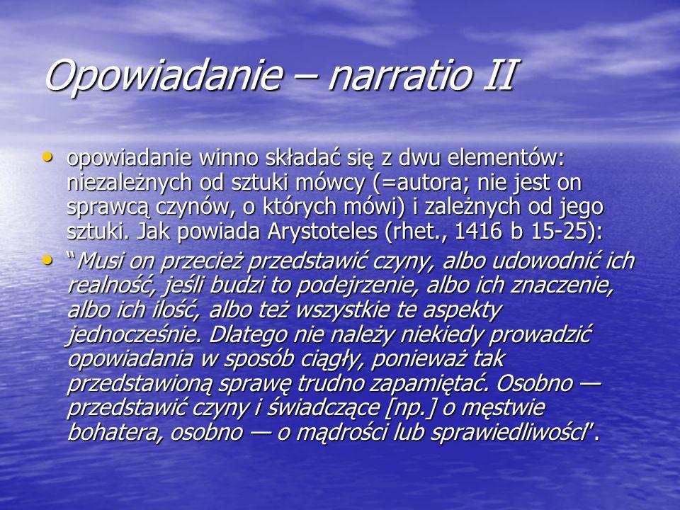 Opowiadanie – narratio II