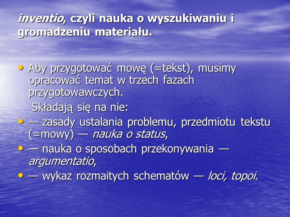 inventio, czyli nauka o wyszukiwaniu i gromadzeniu materiału.
