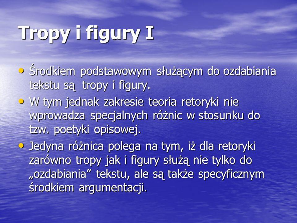 Tropy i figury I Środkiem podstawowym służącym do ozdabiania tekstu są tropy i figury.