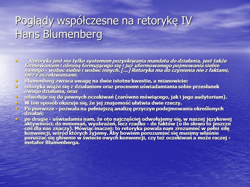 Poglądy współczesne na retorykę IV Hans Blumenberg