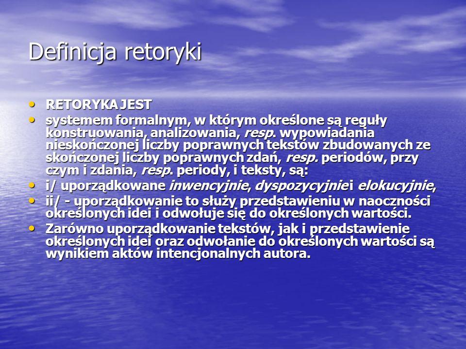 Definicja retoryki RETORYKA JEST