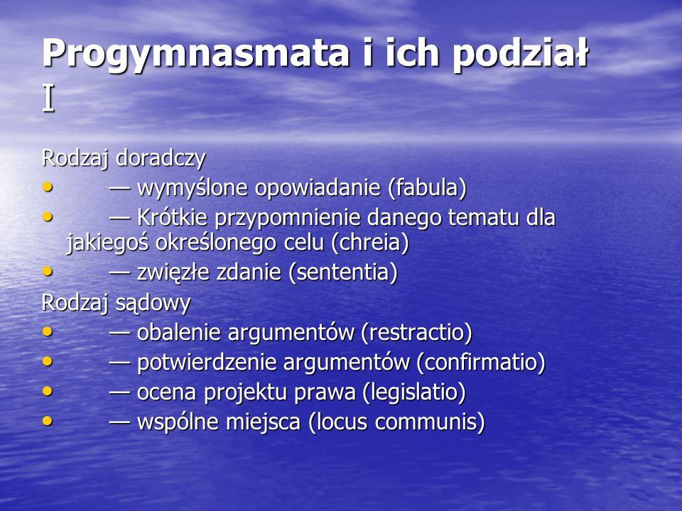 Progymnasmata i ich podział I