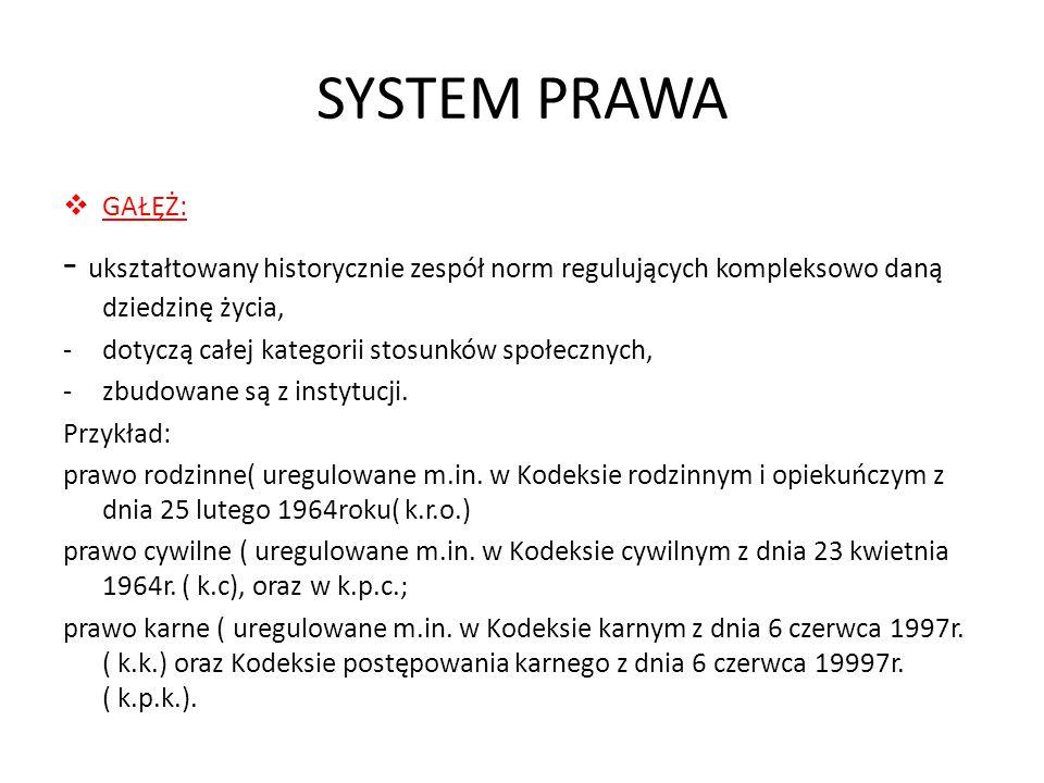 SYSTEM PRAWA GAŁĘŻ: - ukształtowany historycznie zespół norm regulujących kompleksowo daną dziedzinę życia,