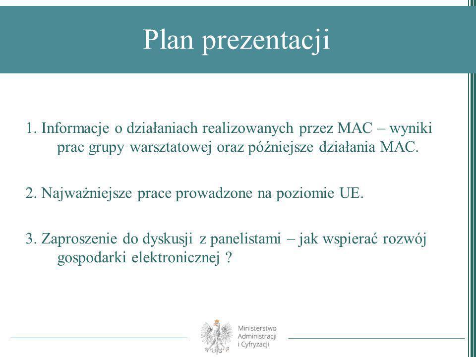 Plan prezentacji1. Informacje o działaniach realizowanych przez MAC – wyniki prac grupy warsztatowej oraz późniejsze działania MAC.