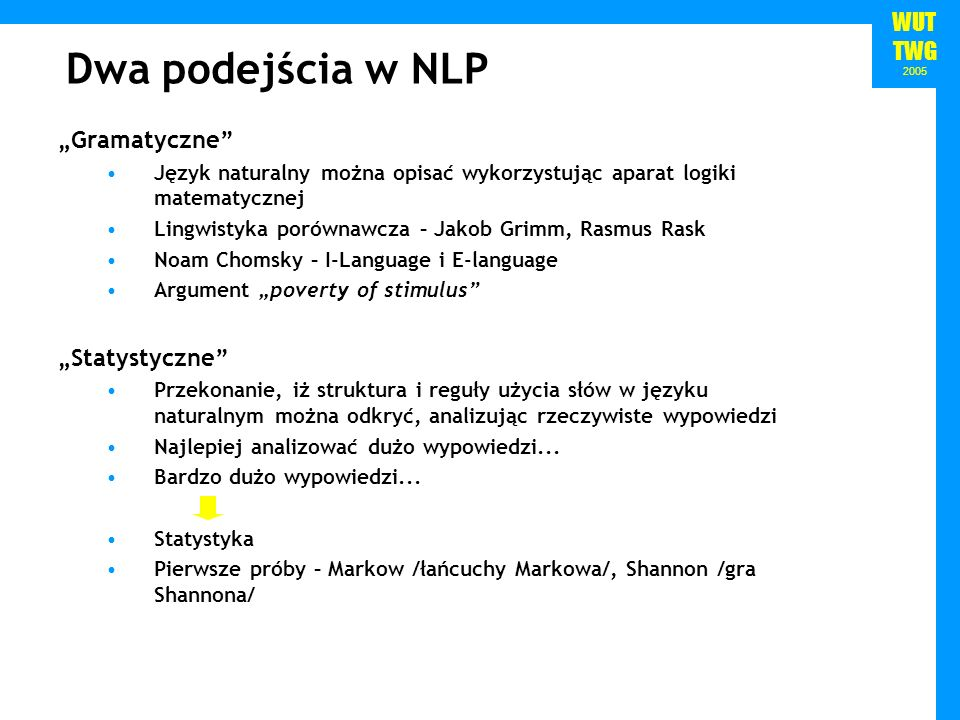 """Dwa podejścia w NLP """"Gramatyczne """"Statystyczne"""