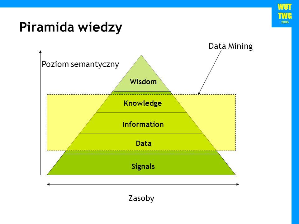 Piramida wiedzy Data Mining Poziom semantyczny Zasoby Wisdom Knowledge