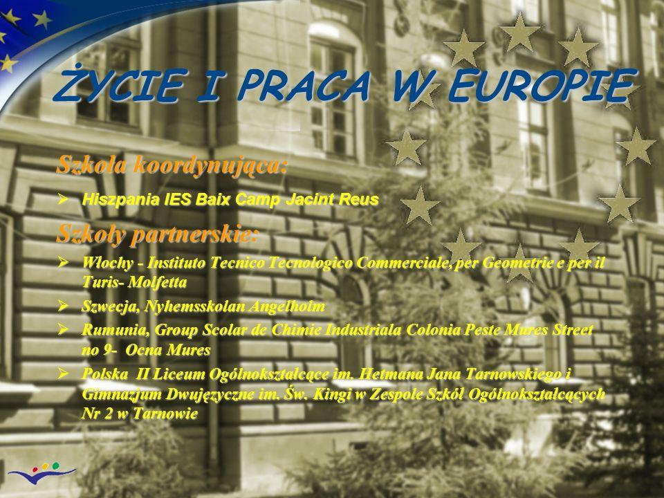 ŻYCIE I PRACA W EUROPIE Szkoła koordynująca: Szkoły partnerskie: