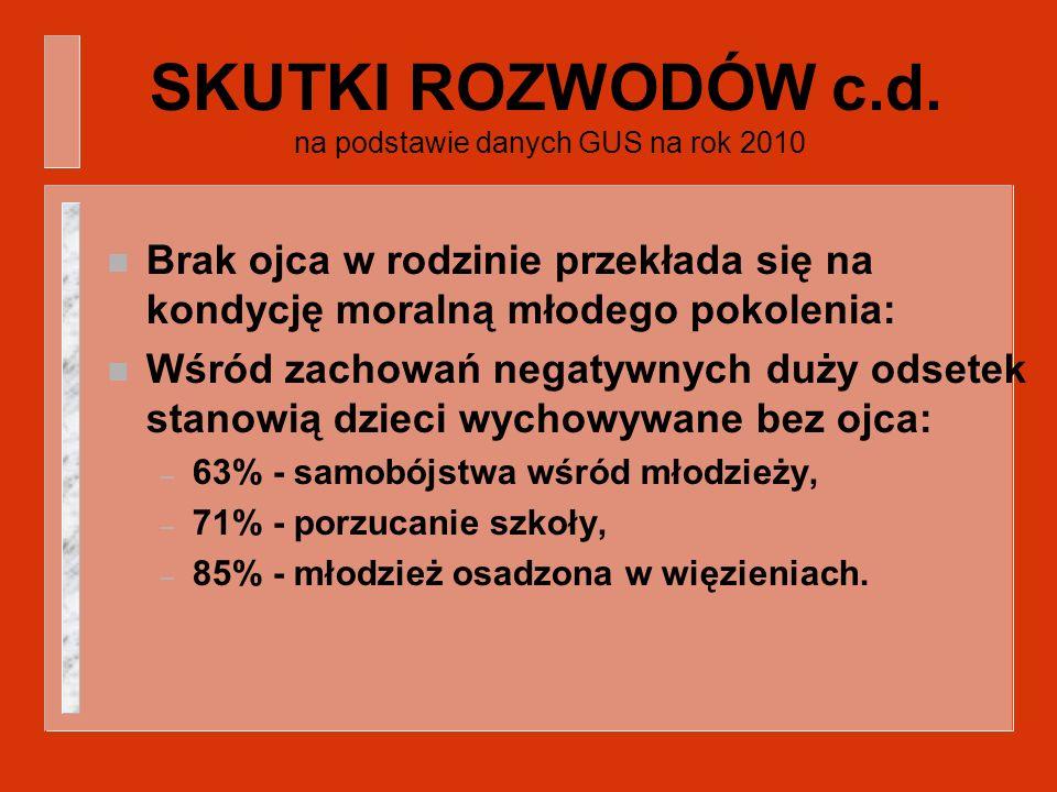 SKUTKI ROZWODÓW c.d. na podstawie danych GUS na rok 2010