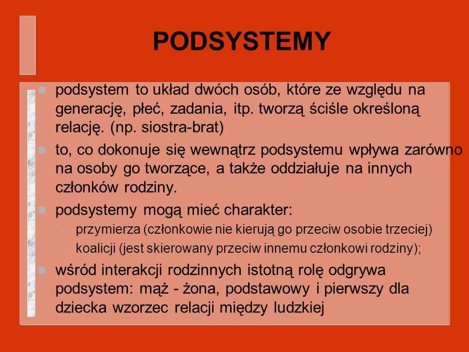PODSYSTEMY podsystem to układ dwóch osób, które ze względu na generację, płeć, zadania, itp. tworzą ściśle określoną relację. (np. siostra-brat)