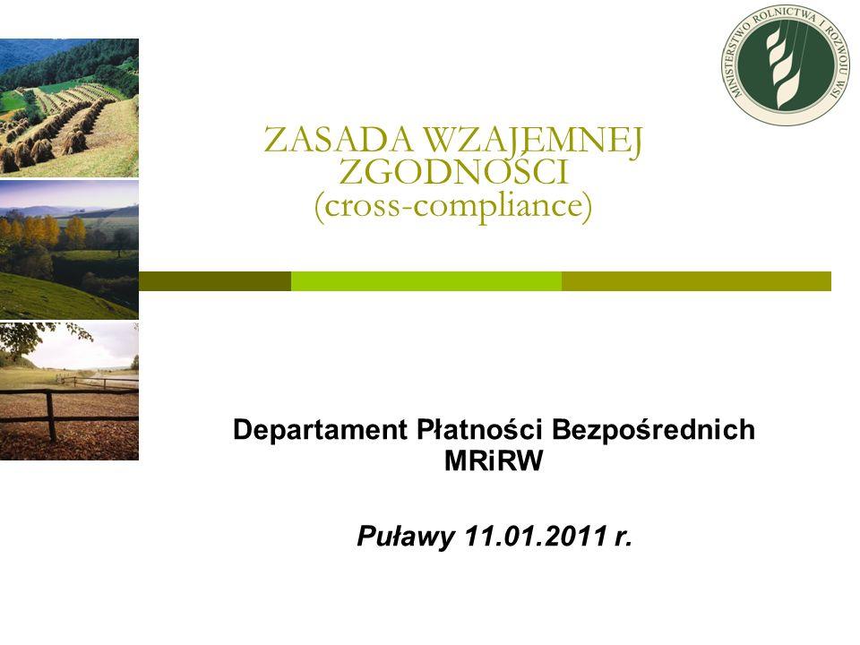 ZASADA WZAJEMNEJ ZGODNOŚCI (cross-compliance)