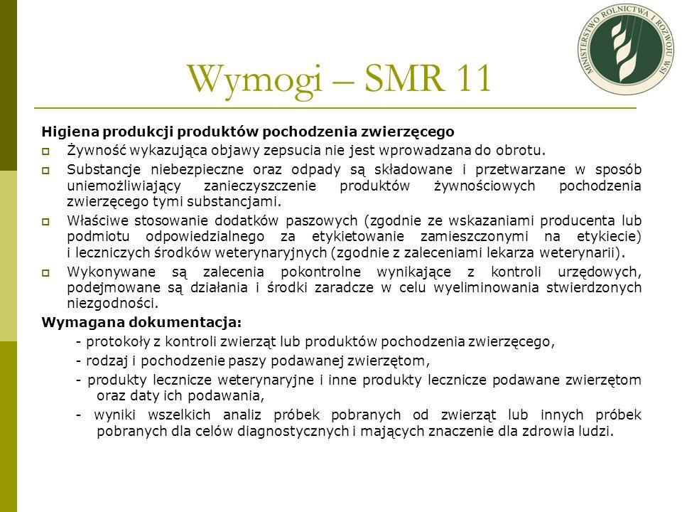 Wymogi – SMR 11 Higiena produkcji produktów pochodzenia zwierzęcego