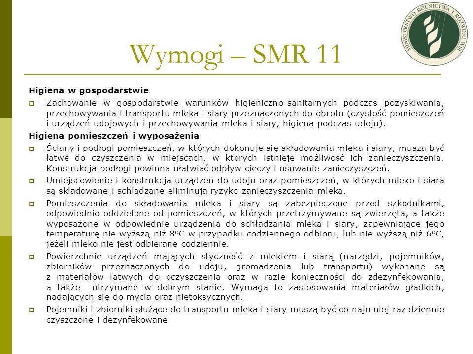 Wymogi – SMR 11 Higiena w gospodarstwie