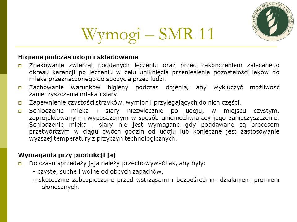 Wymogi – SMR 11 Higiena podczas udoju i składowania