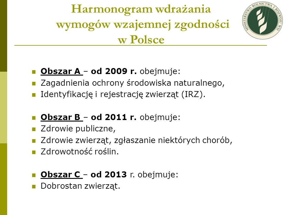 Harmonogram wdrażania wymogów wzajemnej zgodności w Polsce
