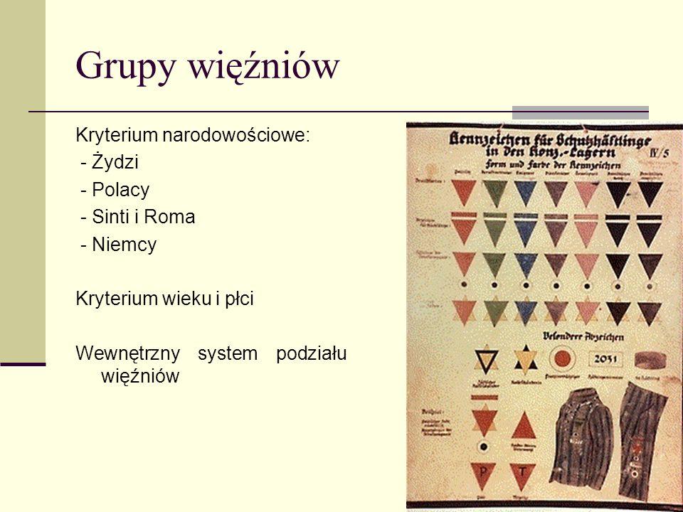 Grupy więźniów Kryterium narodowościowe: - Żydzi - Polacy