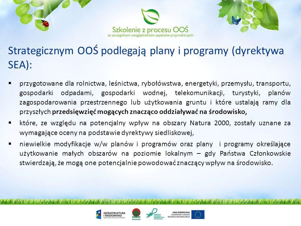 Strategicznym OOŚ podlegają plany i programy (dyrektywa SEA):