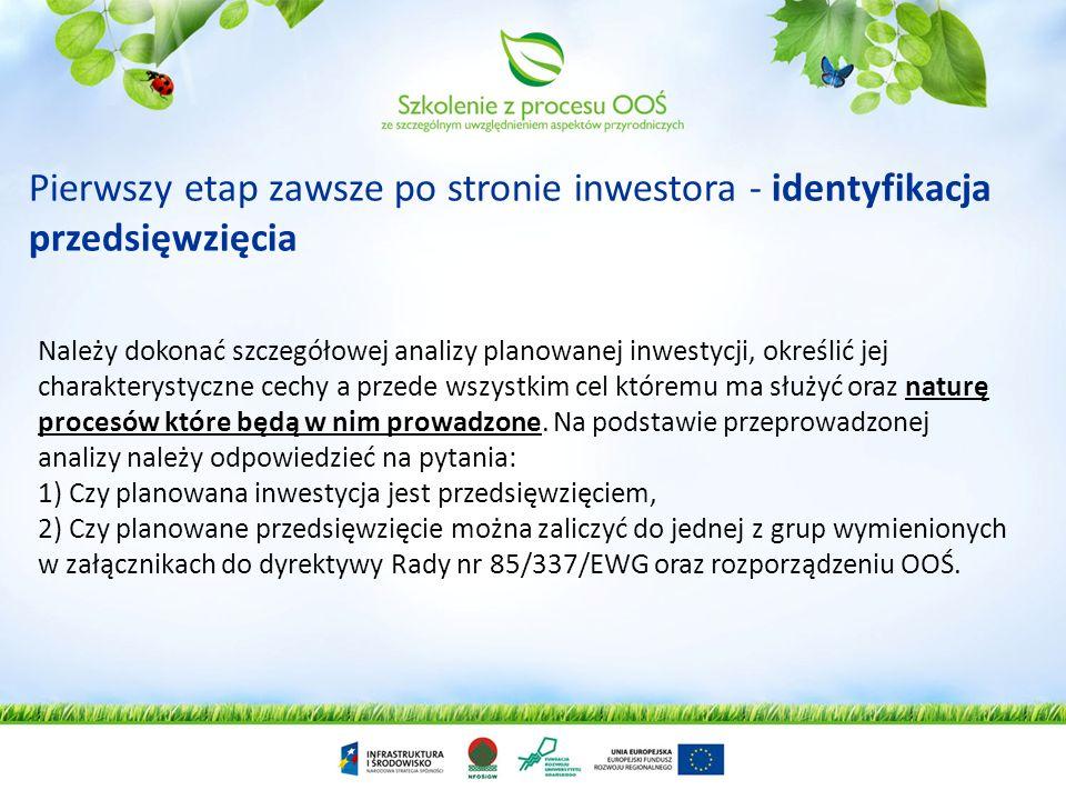 Pierwszy etap zawsze po stronie inwestora - identyfikacja przedsięwzięcia