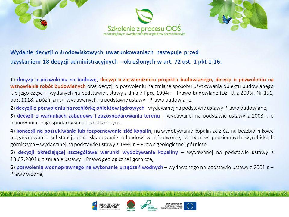Wydanie decyzji o środowiskowych uwarunkowaniach następuje przed