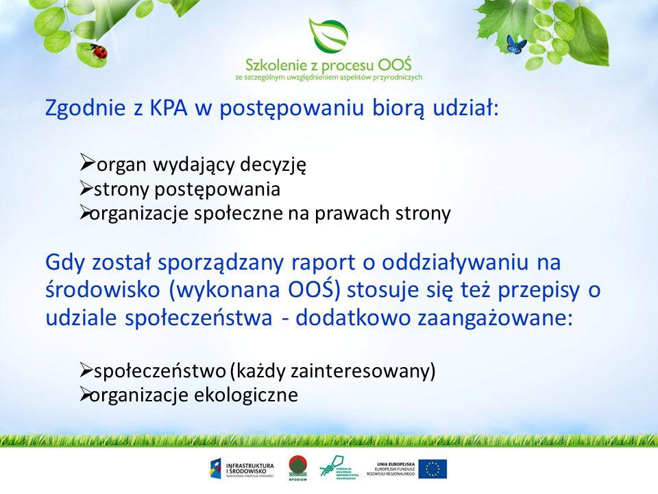 Zgodnie z KPA w postępowaniu biorą udział: organ wydający decyzję