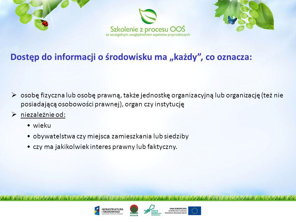 """Dostęp do informacji o środowisku ma """"każdy , co oznacza:"""