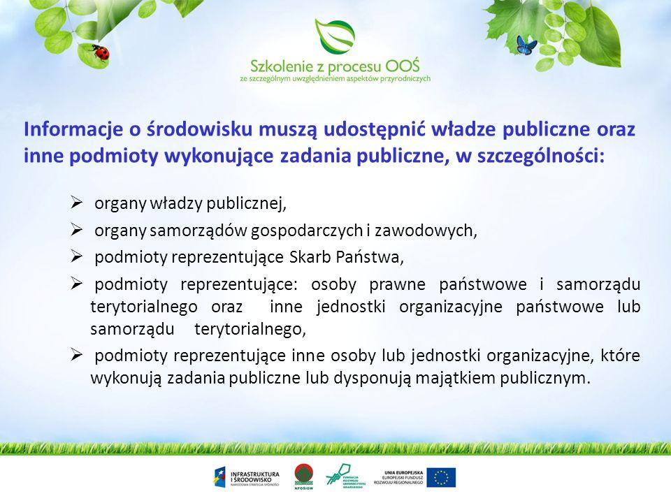 Informacje o środowisku muszą udostępnić władze publiczne oraz inne podmioty wykonujące zadania publiczne, w szczególności: