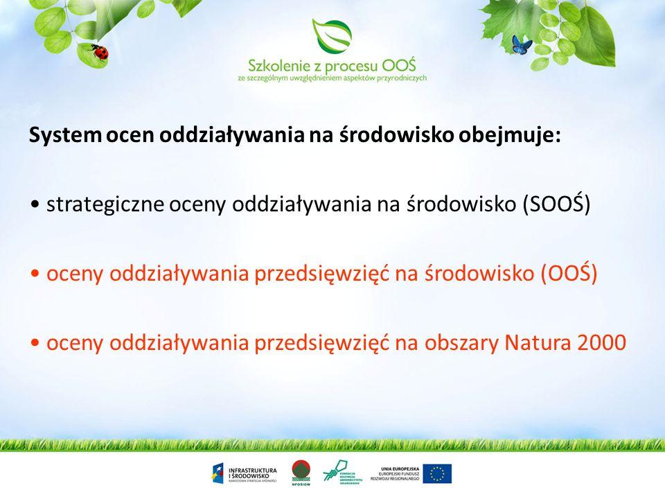 System ocen oddziaływania na środowisko obejmuje: