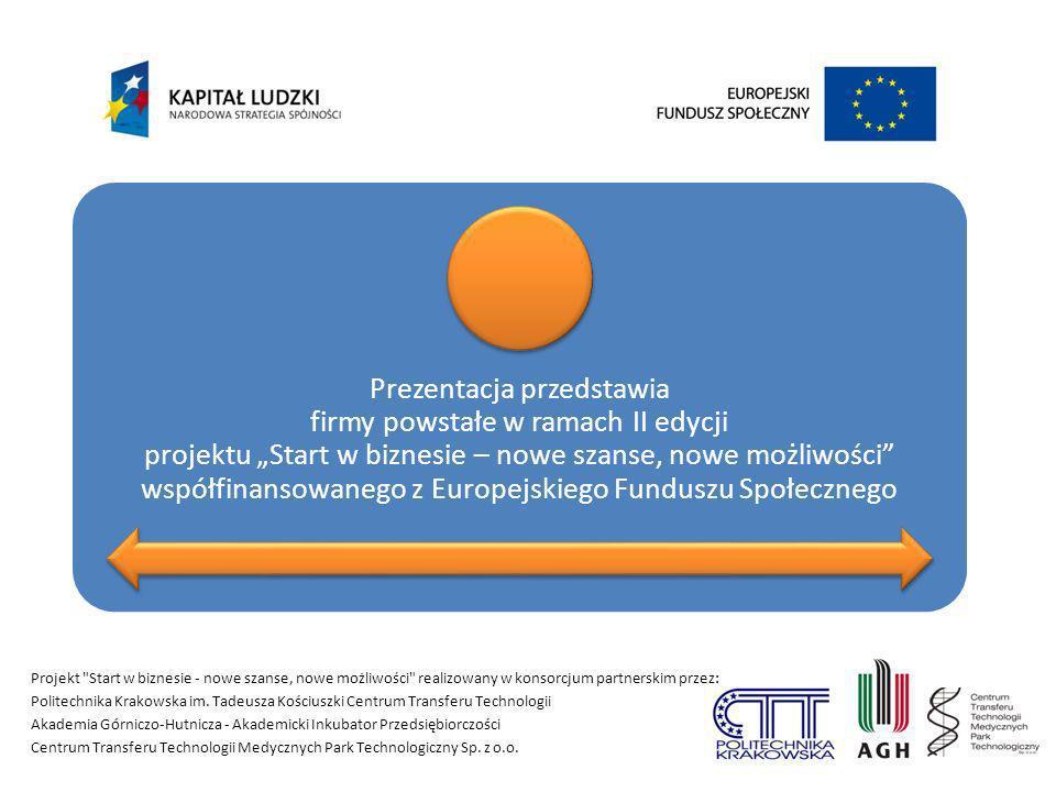 """Prezentacja przedstawia firmy powstałe w ramach II edycji projektu """"Start w biznesie – nowe szanse, nowe możliwości współfinansowanego z Europejskiego Funduszu Społecznego"""