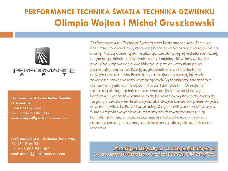 PERFORMANCE TECHNIKA ŚWIATŁA TECHNIKA DZWIENKU Olimpia Wojton i Michał Gruszkowski