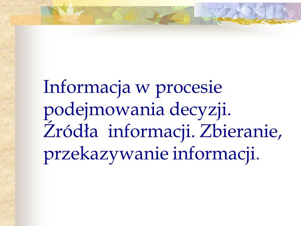 Informacja w procesie podejmowania decyzji. Źródła informacji
