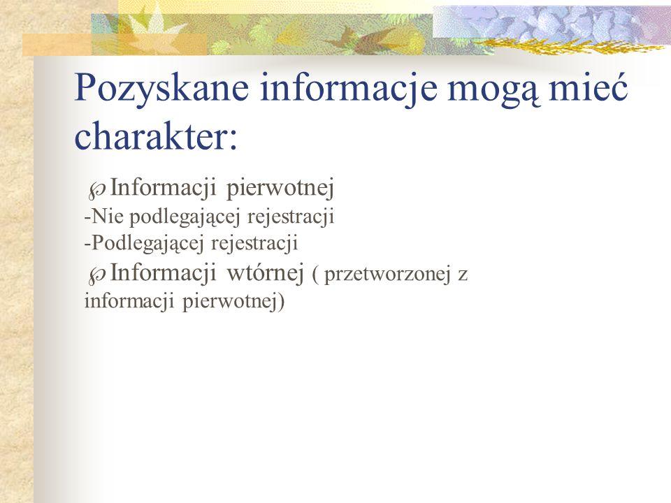 Pozyskane informacje mogą mieć charakter: