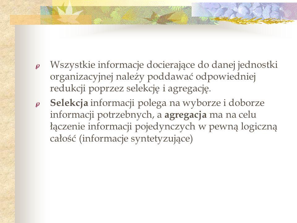 Wszystkie informacje docierające do danej jednostki organizacyjnej należy poddawać odpowiedniej redukcji poprzez selekcję i agregację.