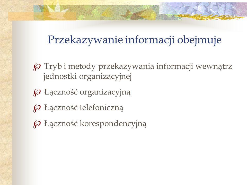 Przekazywanie informacji obejmuje