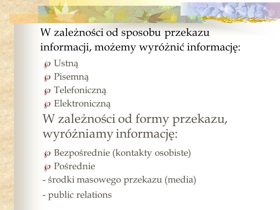 W zależności od formy przekazu, wyróżniamy informację: