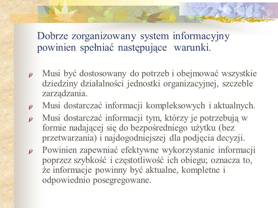 Dobrze zorganizowany system informacyjny powinien spełniać następujące warunki.