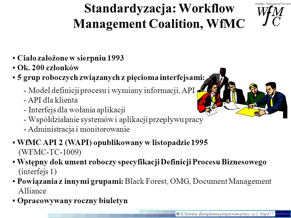 Standardyzacja: Workflow Management Coalition, WfMC