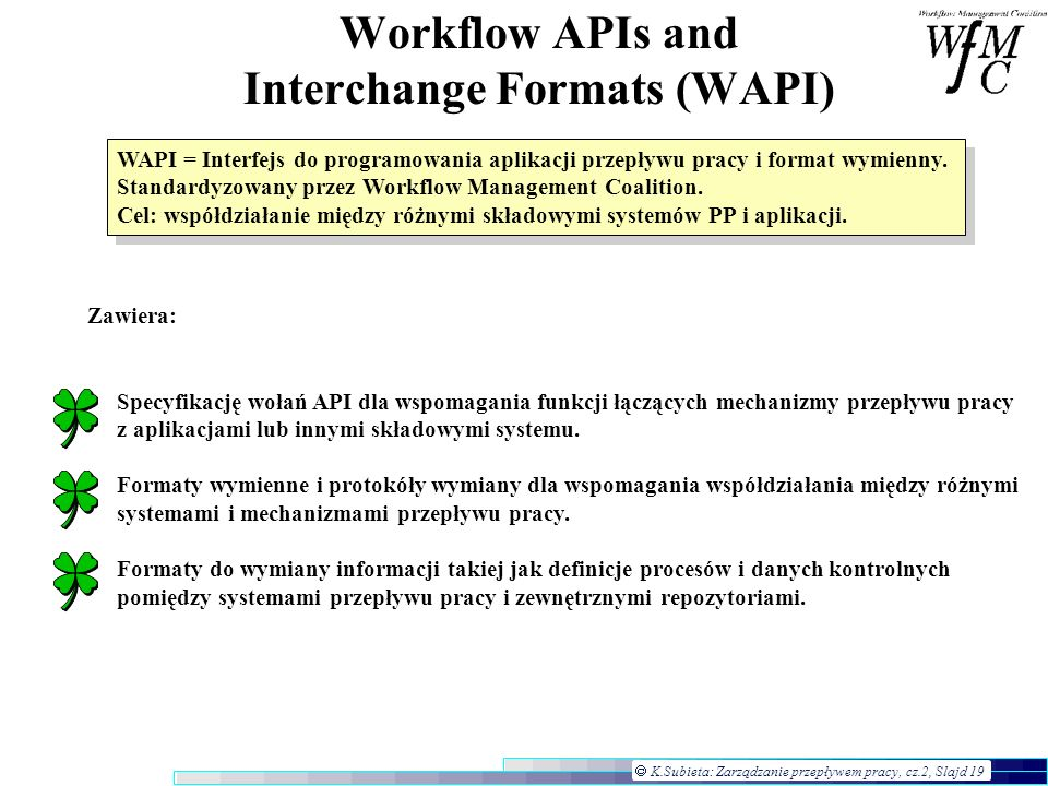 Workflow APIs and Interchange Formats (WAPI)