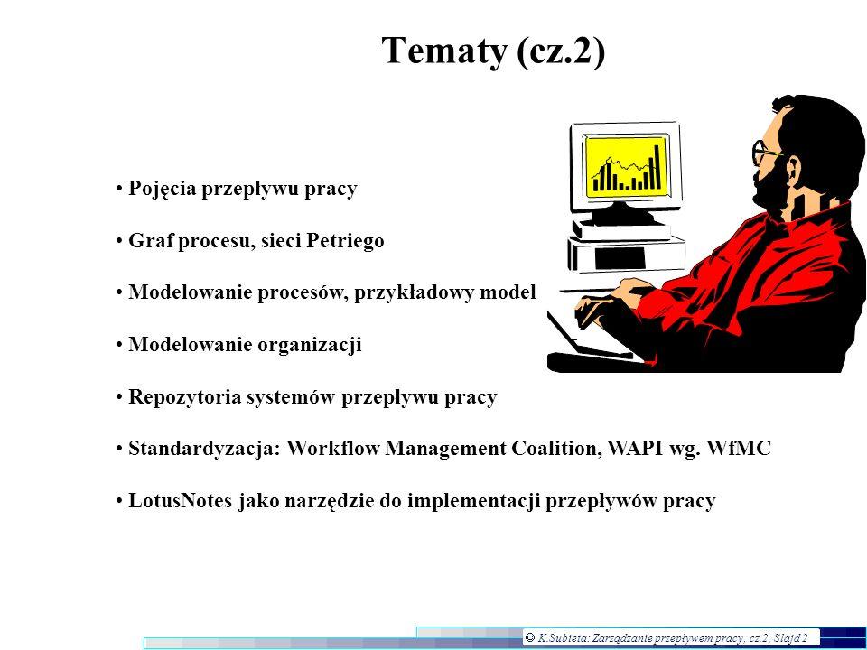 Tematy (cz.2) Pojęcia przepływu pracy Graf procesu, sieci Petriego