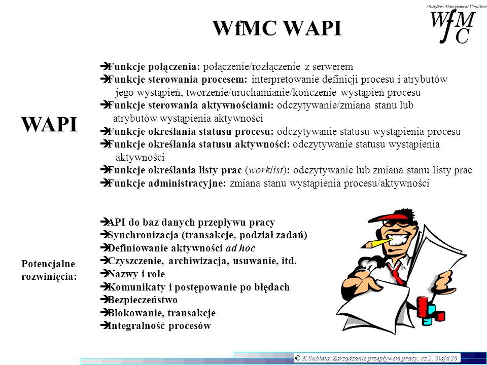 WfMC WAPI WAPI Funkcje połączenia: połączenie/rozłączenie z serwerem