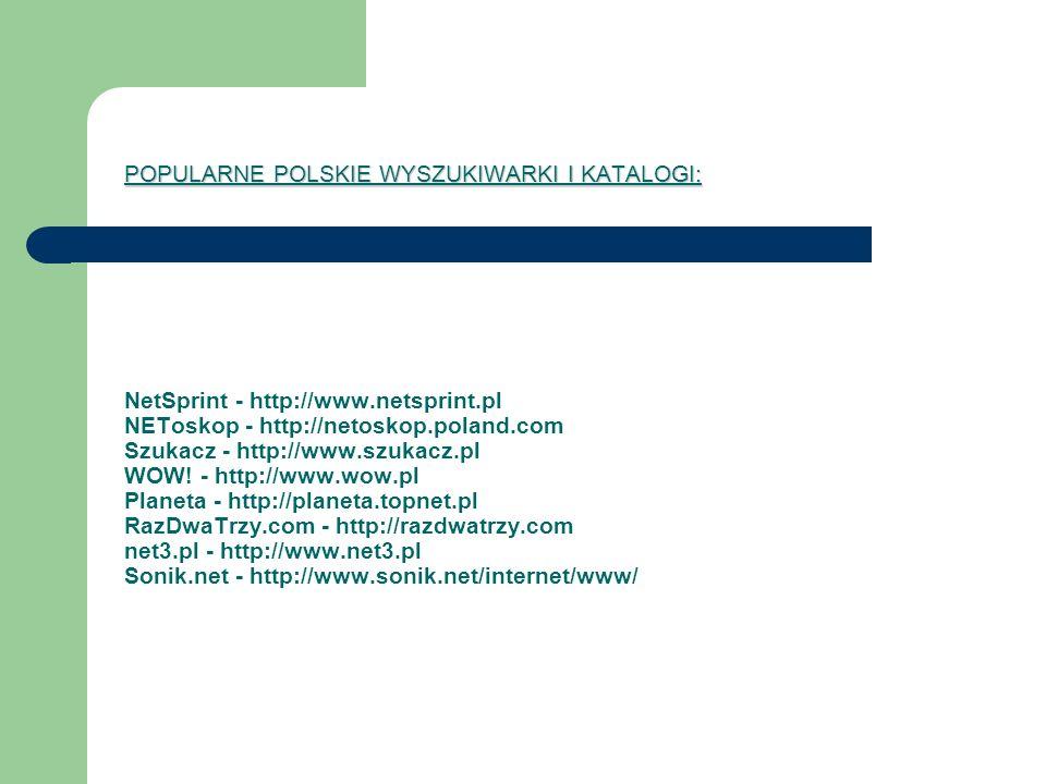 POPULARNE POLSKIE WYSZUKIWARKI I KATALOGI: NetSprint - http://www
