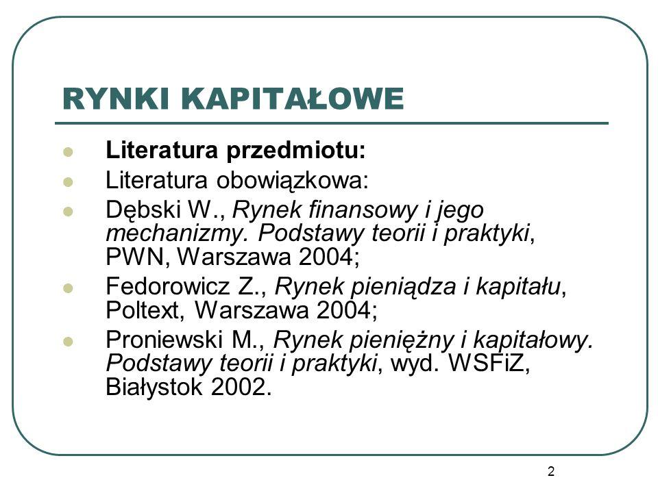 RYNKI KAPITAŁOWE Literatura przedmiotu: Literatura obowiązkowa: