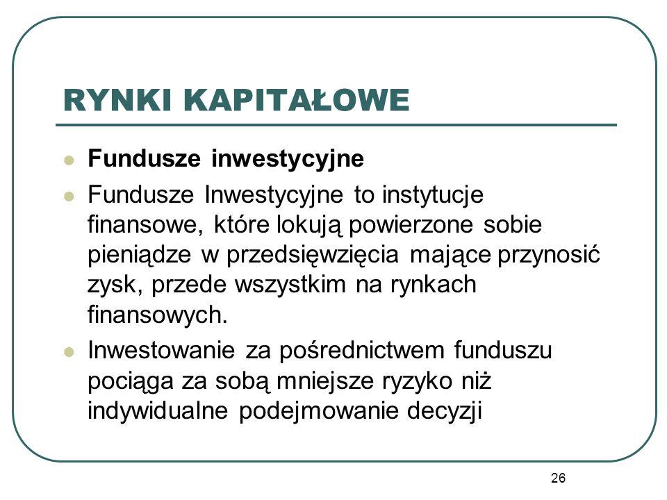 RYNKI KAPITAŁOWE Fundusze inwestycyjne